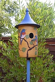 Ceramic hummingbird house