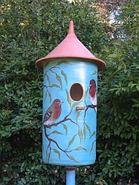Ceramic finch birdhouse