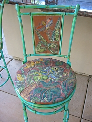 Detail of the iguana barstool