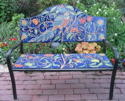 Full view of bird bench