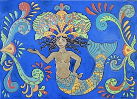 Folk art mermaid fireplace tile panel