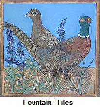 Pheasant tile -- right detail