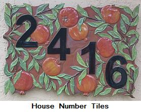 Pomegranate house number tiles